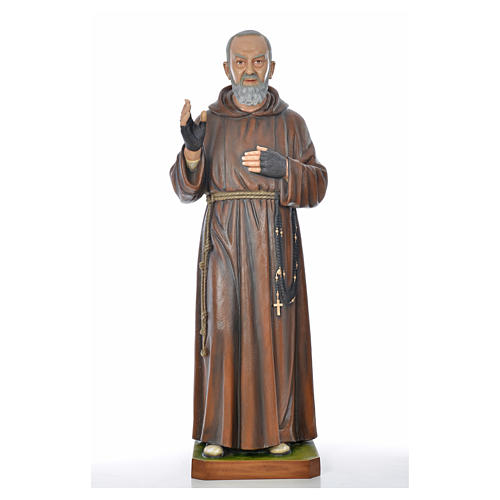 Père Pio en fibre de verre peinte 175 cm 8