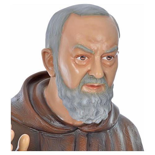 Père Pio en fibre de verre peinte 175 cm 12