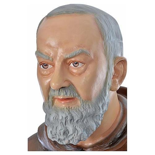 Père Pio en fibre de verre peinte 175 cm 7