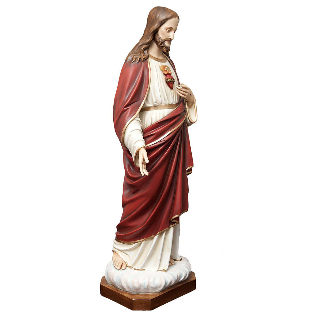 Sacred Heart of Jesus statue in painted fiberglass 165cm 4