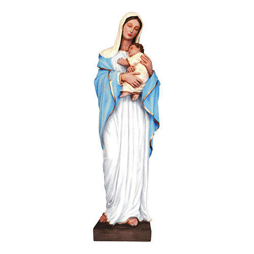 Madonna con bimbo 100 cm fiberglass colorato 1