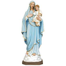 Gottesmutter mit Jesuskind 130 cm aus Fiberglas mit hellblauem Gewand s1