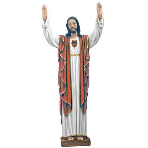 Cristo manos levantadas 170 cm belén fibra de vidrio coloreada
