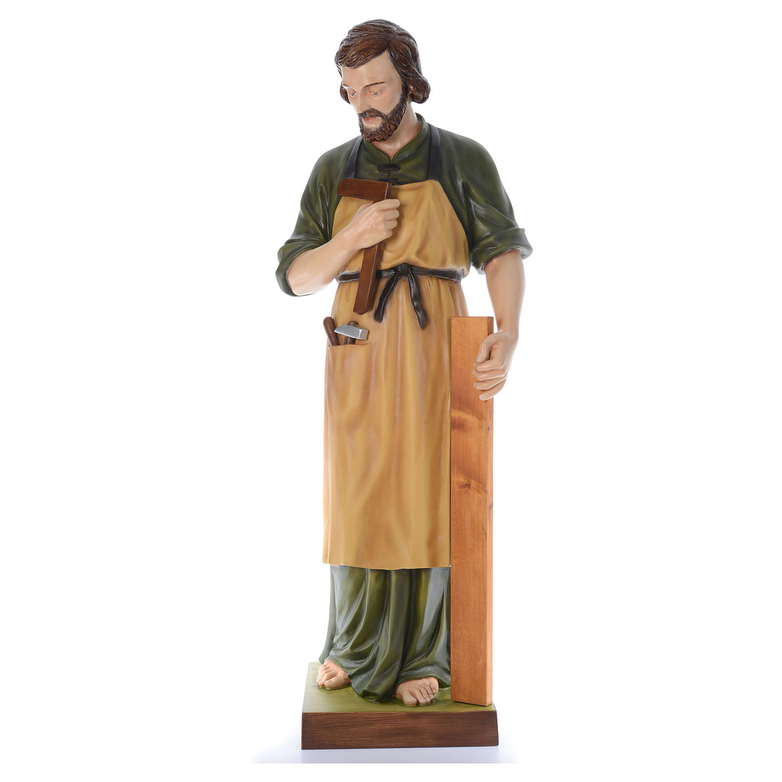 San José Obrero con niño 150 cm belén fibra de vidrio coloreada 4