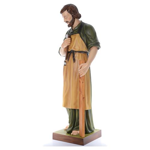 San José Obrero con niño 150 cm belén fibra de vidrio coloreada 2