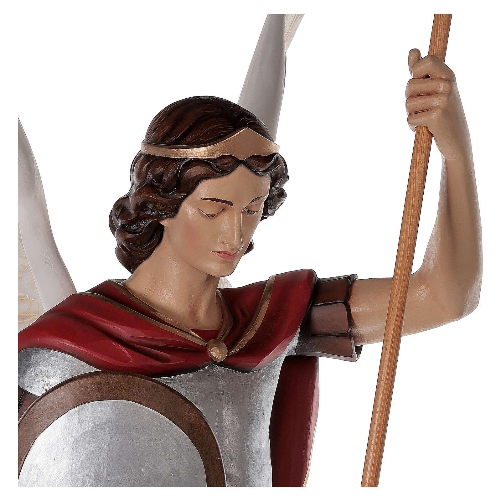 San Miguel Arcángel 180 cm belén fibra de vidrio coloreada 4