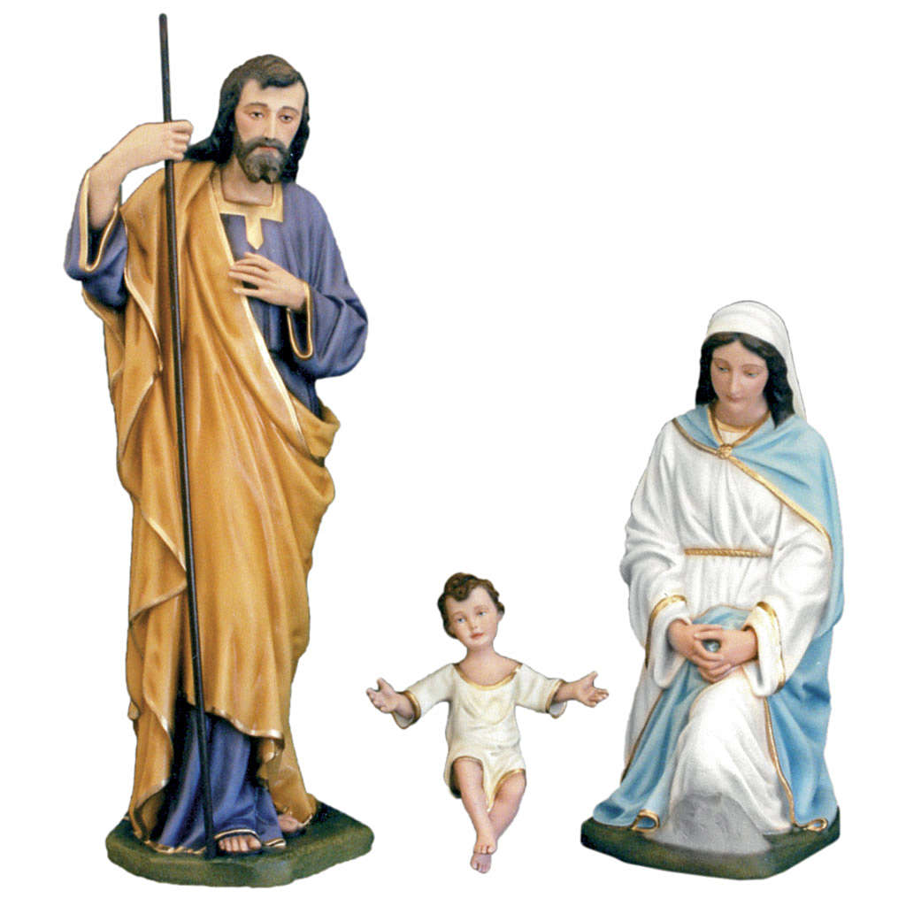 Classic Nativity scene statue in painted fiberglass, 100cm 4
