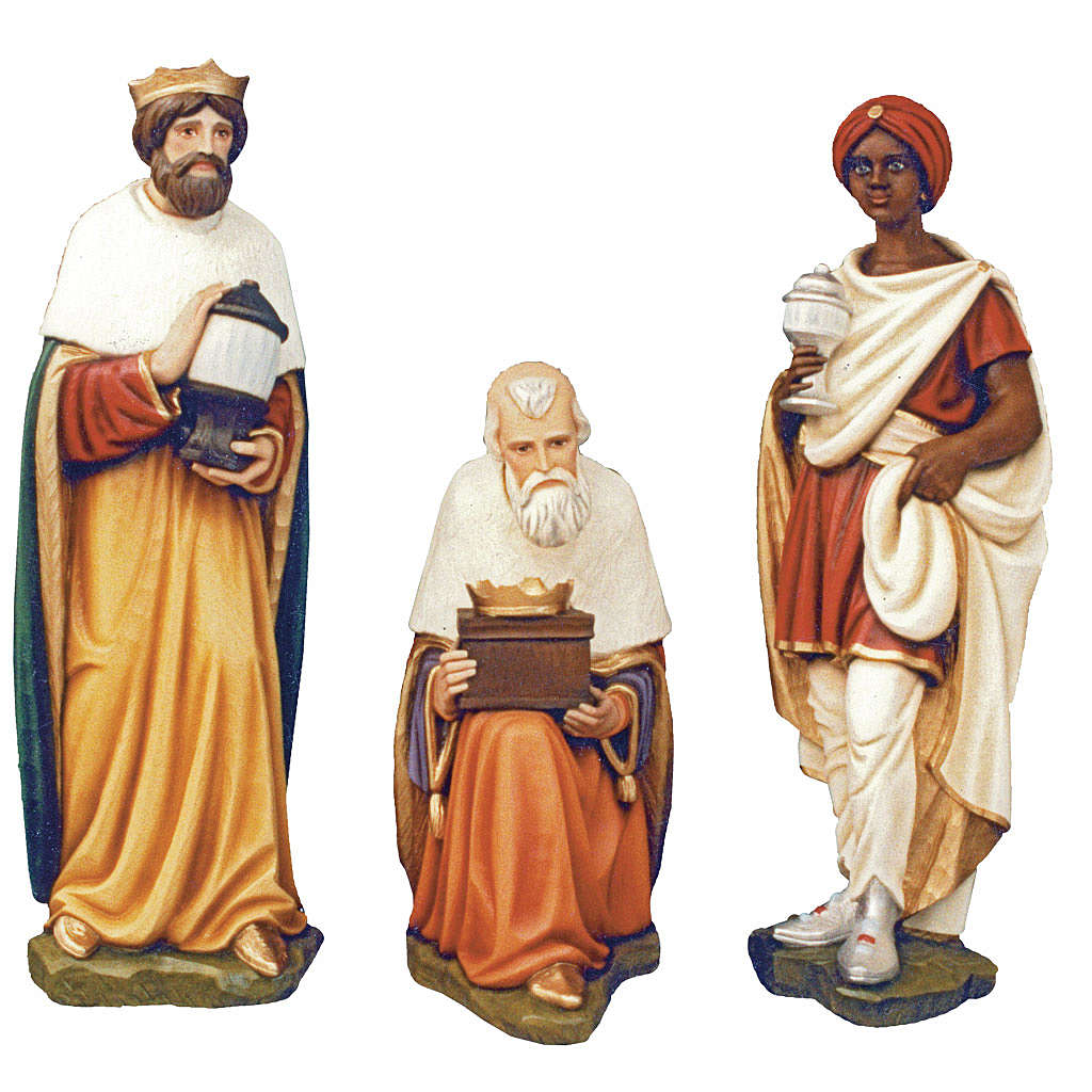 Three Wise Men, statue in painted fiberglass, 100cm 4