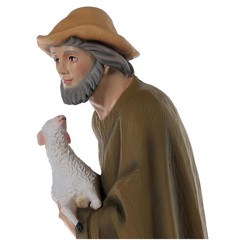 Hirte mit Schaf für Krippe 80cm Fiberglas 4