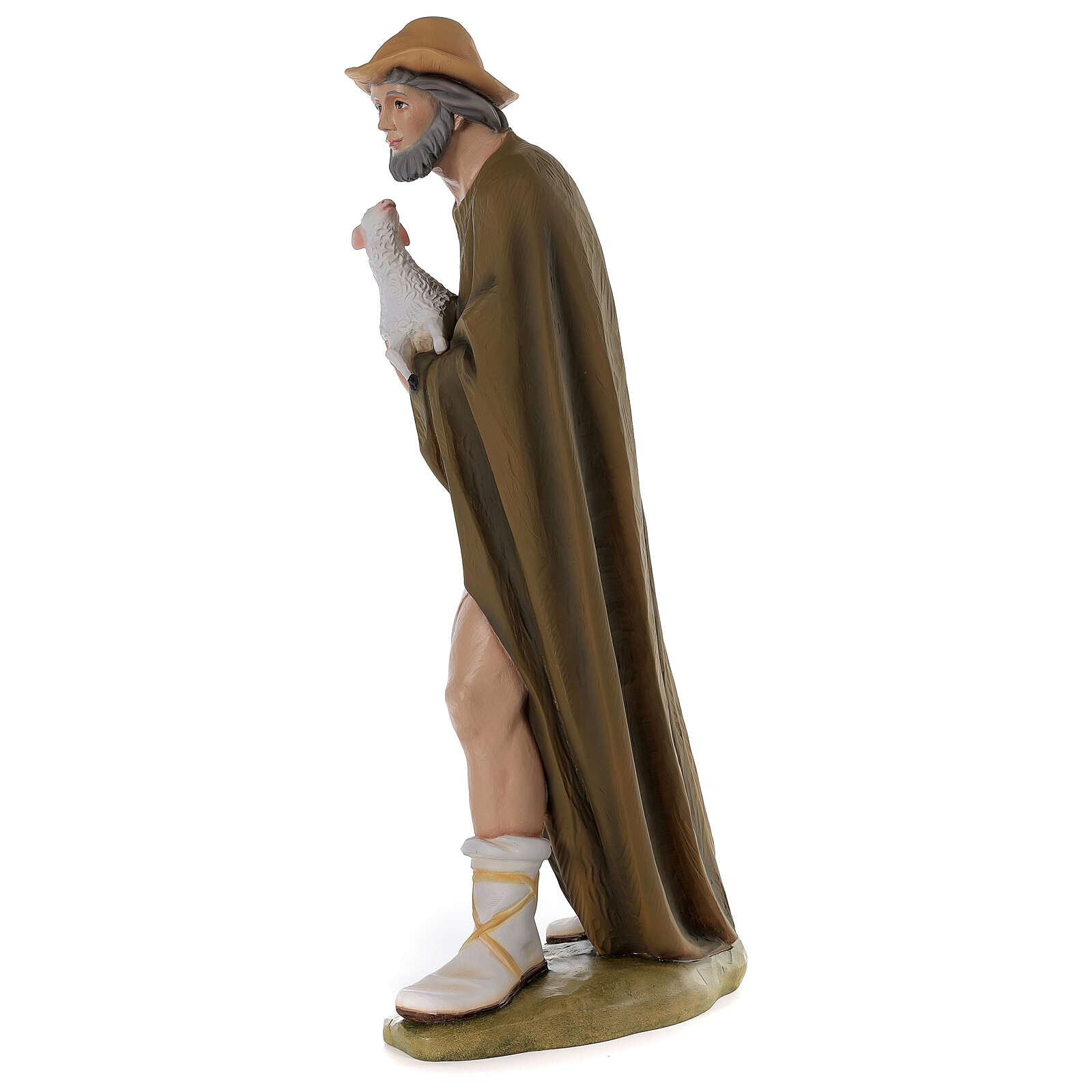 Shepherd with sheep for Nativity scene in painted fibreglass 80 cm 4