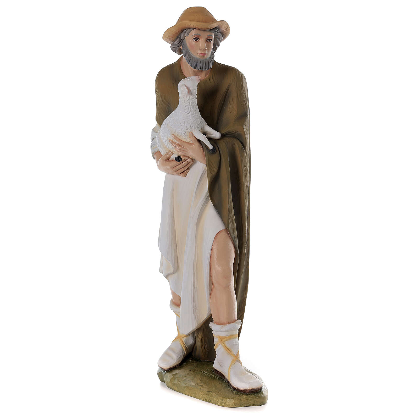 Shepherd with Small Sheep 80 cm Nativity Statue in Painted Fiberglass 4