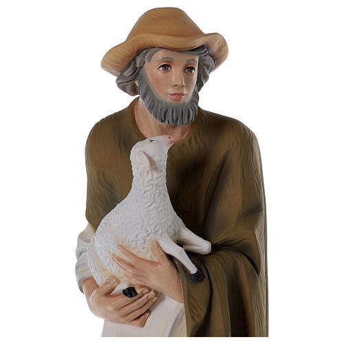Shepherd with Small Sheep 80 cm Nativity Statue in Painted Fiberglass 2