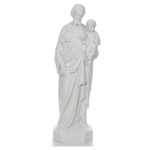 Saint Joseph à l'enfant fibre de verre blanche 130cm 1