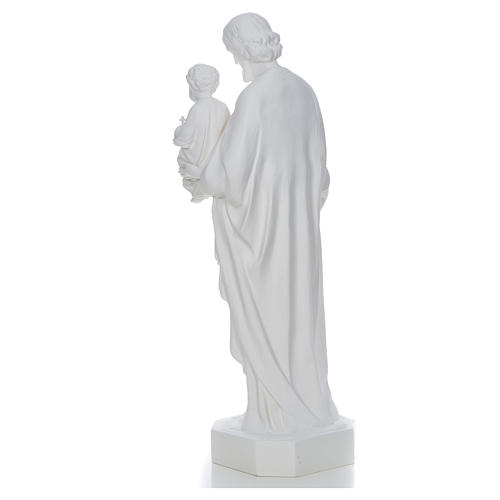 Saint Joseph à l'enfant fibre de verre blanche 130cm 3
