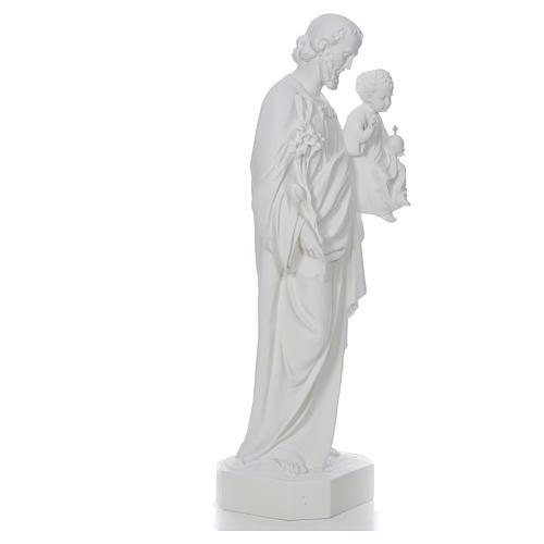 Saint Joseph à l'enfant fibre de verre blanche 130cm 4