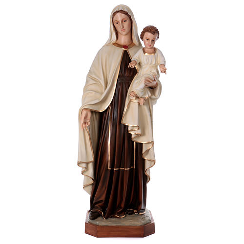 Virgin Mary with Baby Jesus in painted fiberglass, 170cm 1