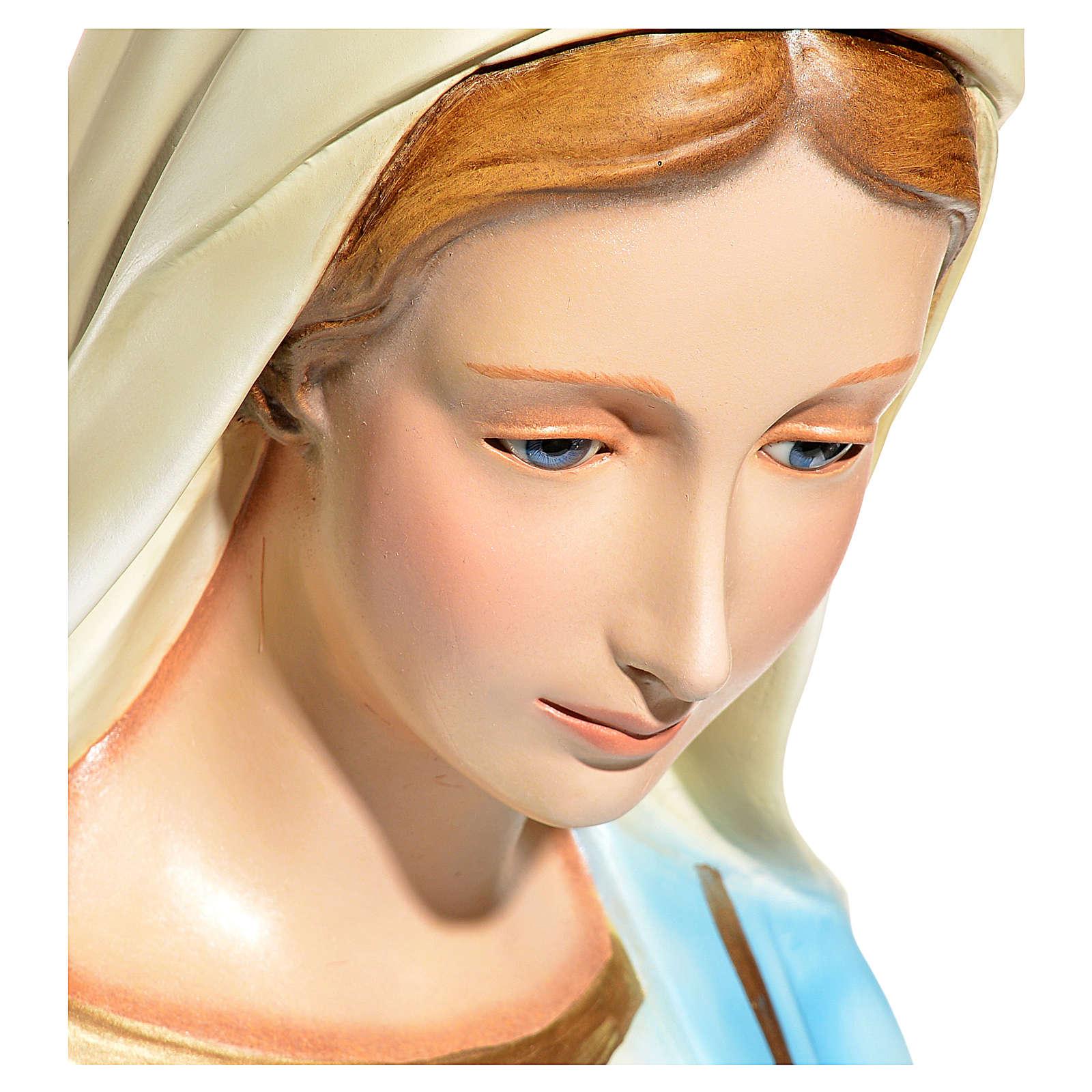 Statue Vierge Immaculée yeux en cristal fibre de verre 145cm 4