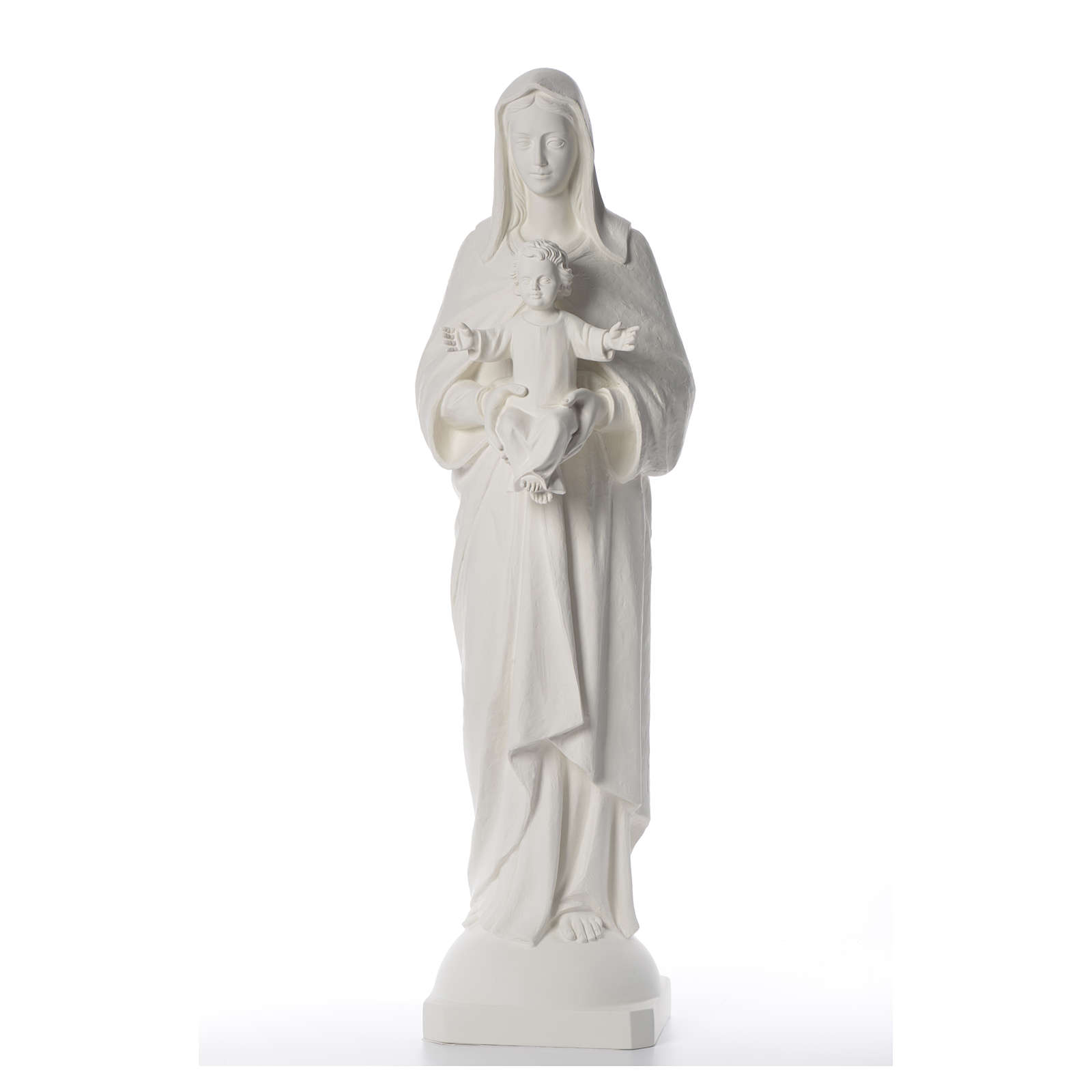 Virgen con Niño 110 cm fibra de vidrio blanca 4