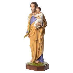San José con el Niño Jesús 160 cm de fibra de vidrio con ojos de cristal s2