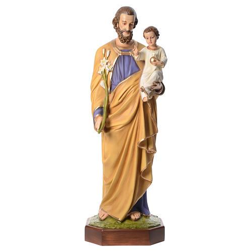 San José con el Niño Jesús 160 cm de fibra de vidrio con ojos de cristal 1