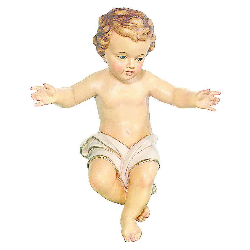 Bambinello Gesù Vetroresina braccia aperte drappo bianco 3