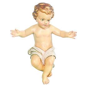 Bambinello Gesù Vetroresina braccia aperte drappo bianco s1