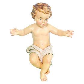 Bambinello Gesù Vetroresina braccia aperte drappo bianco s2