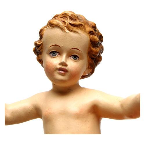 Bambinello Gesù Vetroresina braccia aperte drappo bianco 2