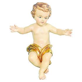 Bambinello Gesù Vetroresina braccia aperte drappo dorato s1
