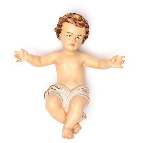 Niño Jesús con vestido blanco 20 cm fibra de vidrio s1