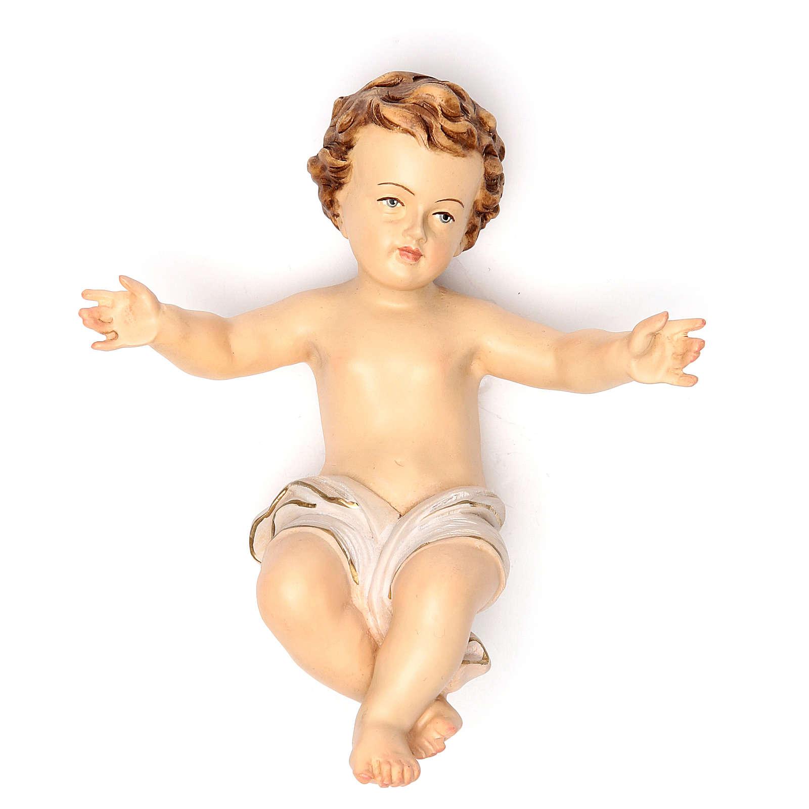 Bambinello Gesù 20 cm fiberglass veste bianca 4