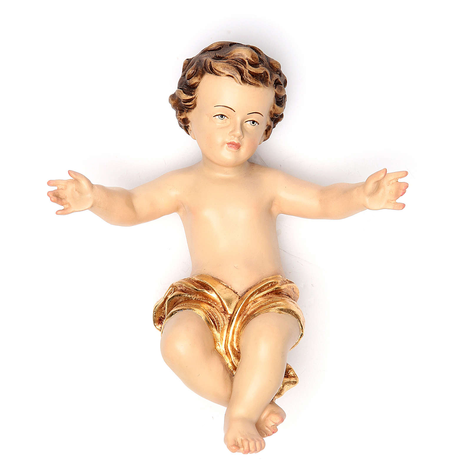 Niño Jesús con vestido dorado 20 cm fibra de vidrio 4