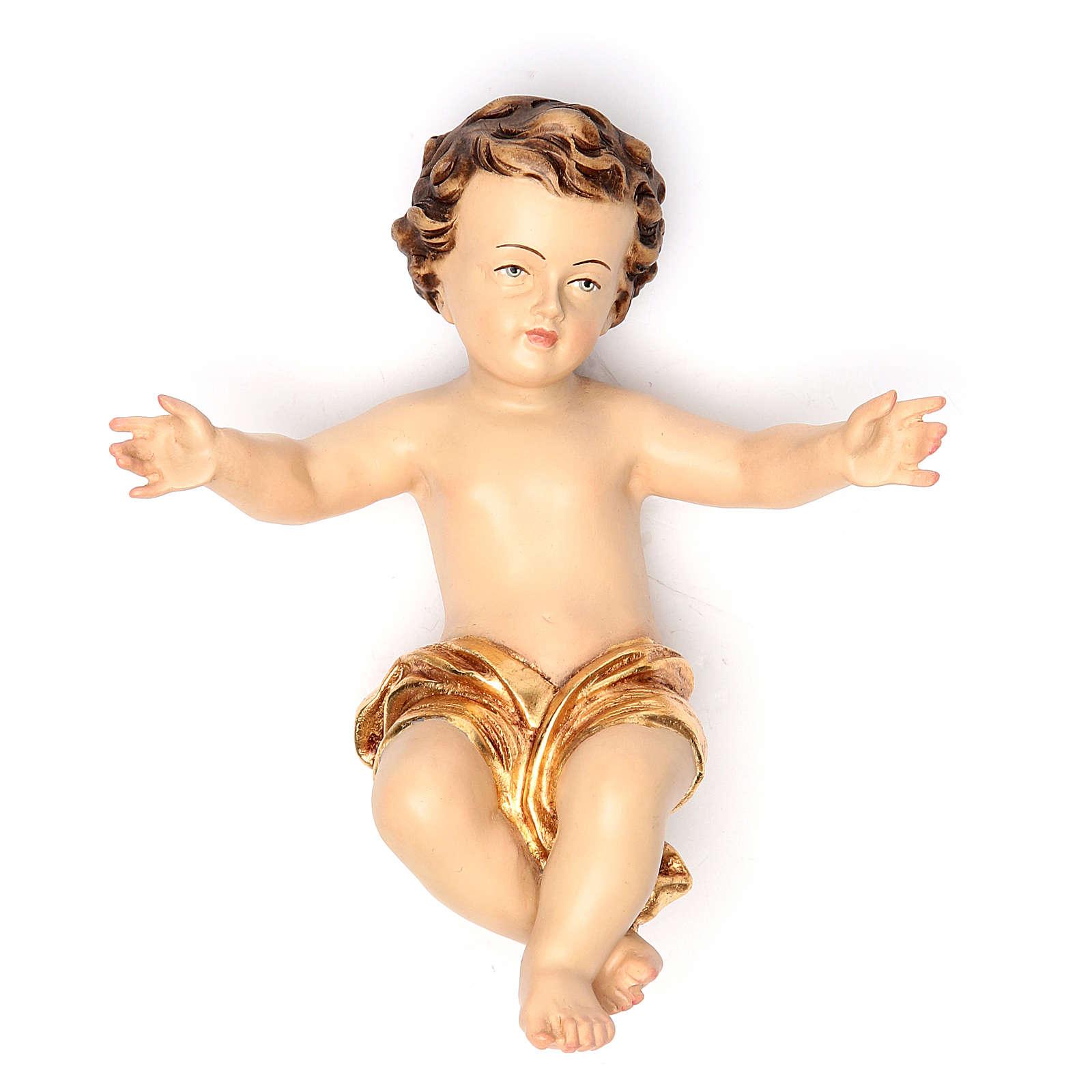 Enfant Jésus 20 cm fibre de verre robe or 4