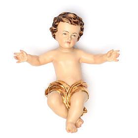 Enfant Jésus 20 cm fibre de verre robe or s1