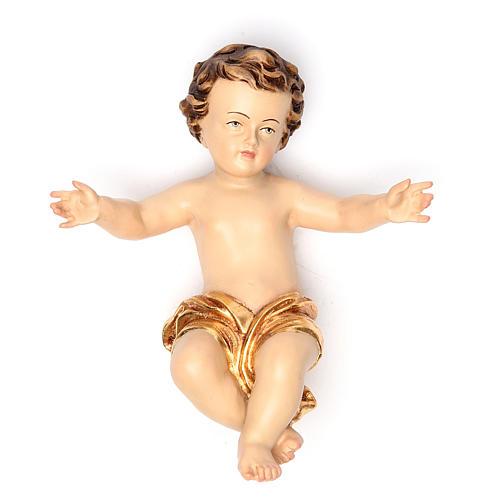 Enfant Jésus 20 cm fibre de verre robe or 1