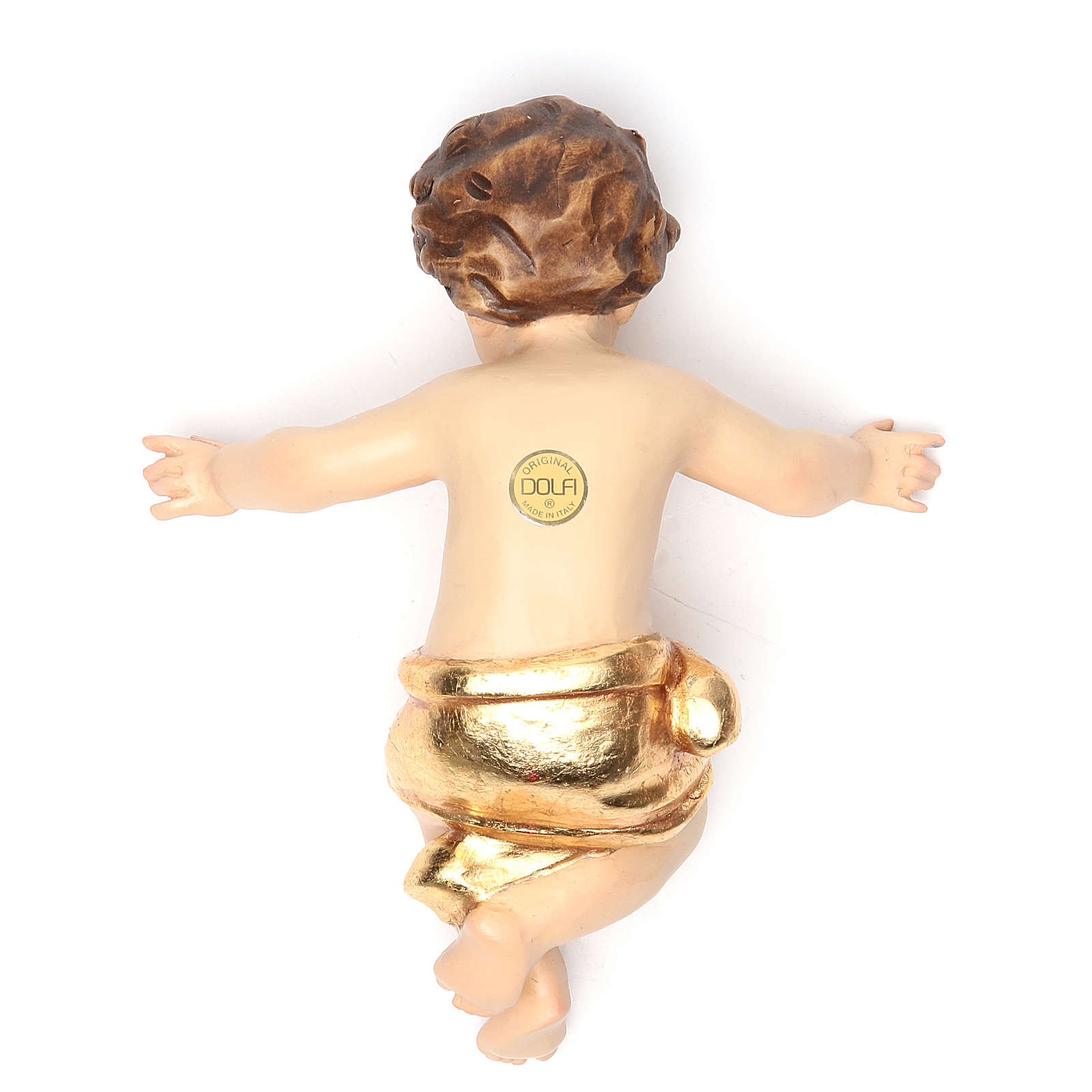 Baby Jesus 20 cm, in fiberglass with gold dress 4