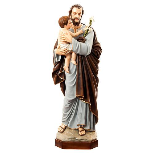 Imagen San José con el Niño Jesús 175 cm fibra de vidrio pintada