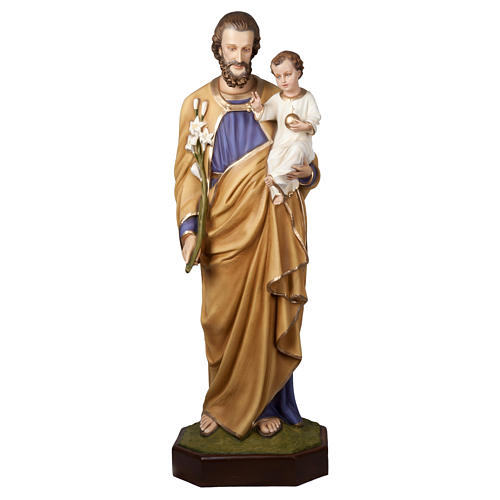 Statue of St. Joseph with Baby Jesus in fibreglass 160 cm for EXTERNAL USE 1