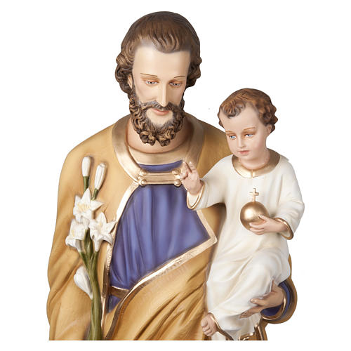 Statue of St. Joseph with Baby Jesus in fibreglass 160 cm for EXTERNAL USE 8