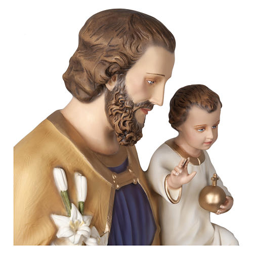 Statue of St. Joseph with Baby Jesus in fibreglass 160 cm for EXTERNAL USE 9