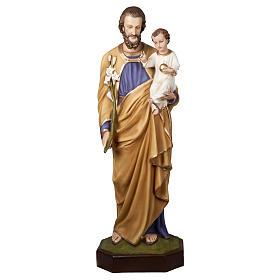 Imagem São José com o Menino Jesus 160 cm fibra de vidro PARA EXTERIOR