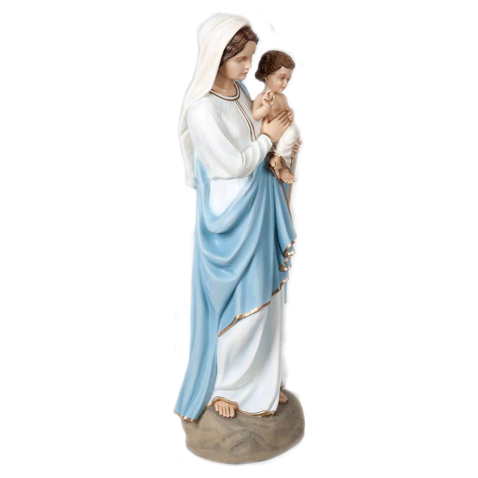 Estatua Virgen con Niño que bendice 85 cm fiberglass PARA EXTERIOR 4