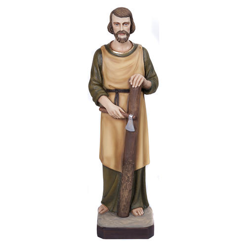 Estatua San José carpintero 80 cm fiberglass PARA EXTERIOR