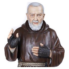 Statue Père Pio fibre de verre 110 cm POUR EXTÉRIEUR s6
