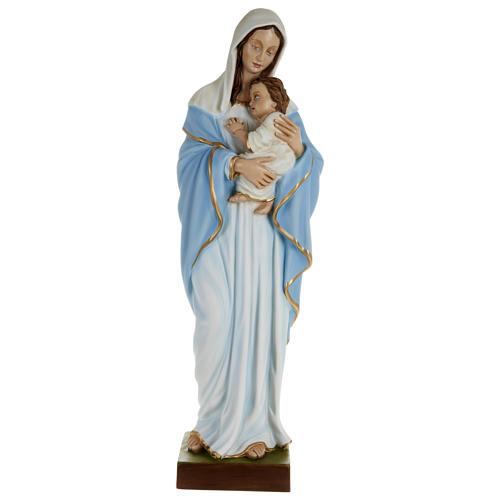 Statue Vierge avec Enfant-Jésus serré dans les bras 80 cm fibre de verre POUR EXTÉRIEUR 1