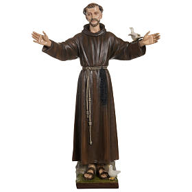 Statue of St. Francis with doves in fibreglass 100 cm for EXTERNAL USE s1