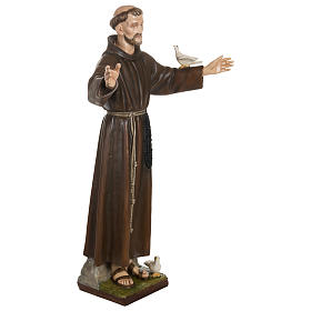 Statue of St. Francis with doves in fibreglass 100 cm for EXTERNAL USE s7