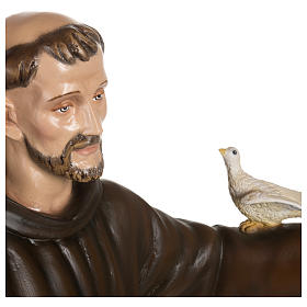 Statue of St. Francis with doves in fibreglass 100 cm for EXTERNAL USE s8