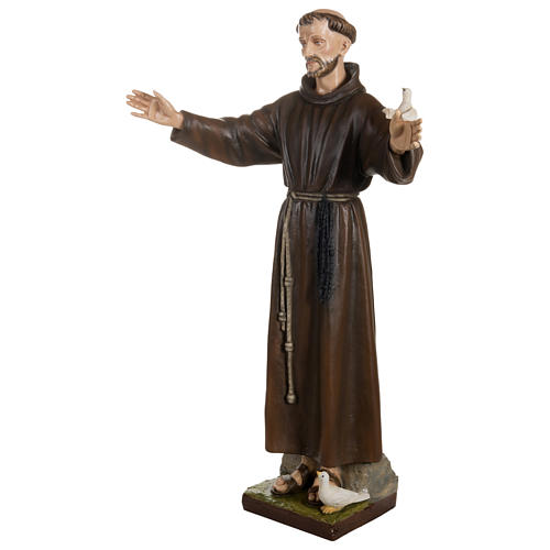 Statue of St. Francis with doves in fibreglass 100 cm for EXTERNAL USE 5