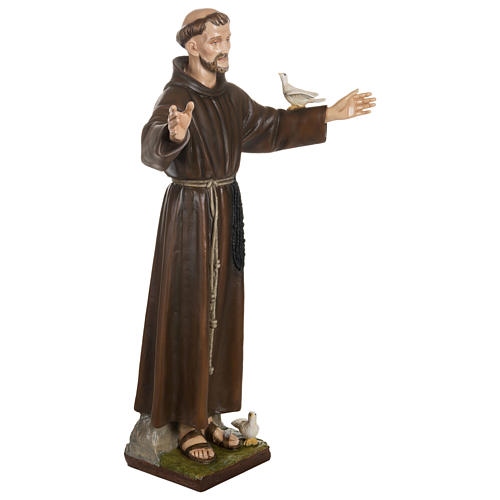Statue of St. Francis with doves in fibreglass 100 cm for EXTERNAL USE 7